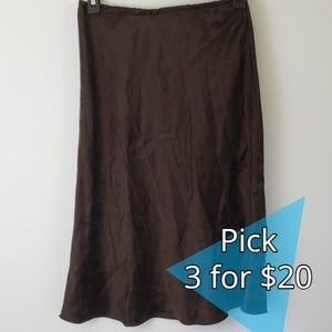 MICHAEL Michael Kors : Brown Silk Slip Skirt